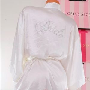 Victoria Secret White Satin Rhinestone Bride Robe